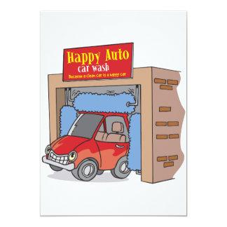 Auto convites felizes do lavagem de carros convite 12.7 x 17.78cm