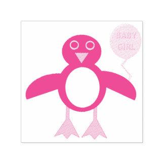 Auto cor-de-rosa bonito do pinguim do bebé que carimbo auto entintado