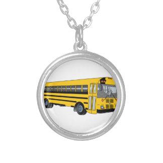 Auto escolar colar banhado a prata