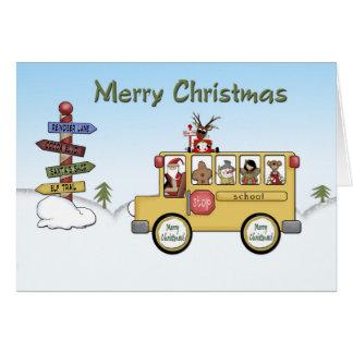 Auto escolar do Feliz Natal Cartão Comemorativo