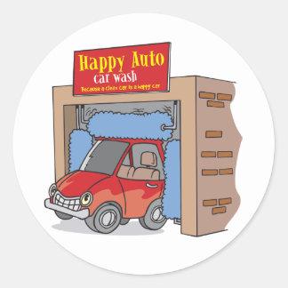 Auto etiquetas felizes do lavagem de carros adesivos em formato redondos