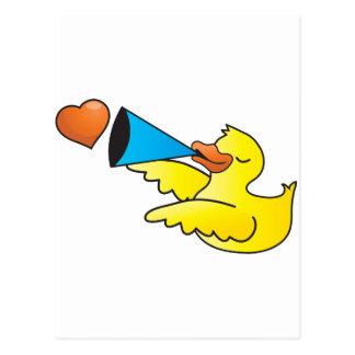 Auto-falante alto do duckie de borracha cartão postal