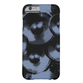 Auto-falante azuis e pretos da música capa barely there para iPhone 6