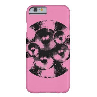 Auto-falante cor-de-rosa e pretos da música capa barely there para iPhone 6
