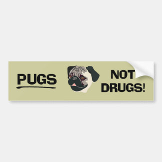 Autocolante no vidro traseiro das drogas dos Pugs  Adesivo Para Carro