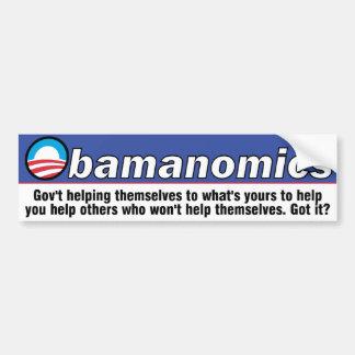 Autocolante no vidro traseiro de Obamanomics Adesivo Para Carro