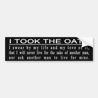 Autocolante no vidro traseiro do juramento de John Adesivo Para Carro