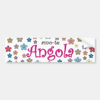 Autocolante para automóvel amo-te Angola - Flores Adesivo