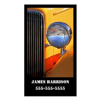 Automotriz amarelo e preto do carro clássico cartão de visita
