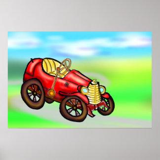 Automóvel vermelho velho poster