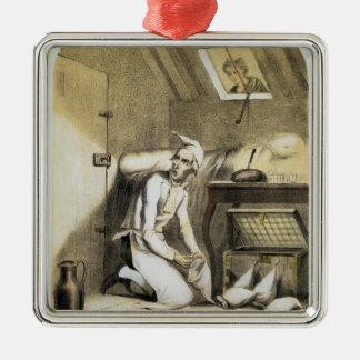 Avareza na cozinha, de uma série dos impressões de ornamento quadrado cor prata