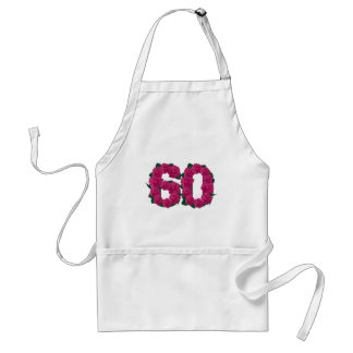 Avental 60th número do rosa do aniversário de casamento do