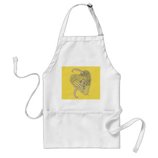 Avental Amarelo com coração da arte do Doodle
