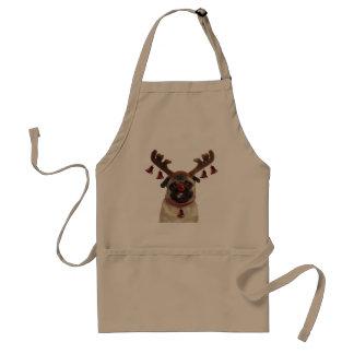 Avental Antlers do Pug - pug do Natal - Feliz Natal