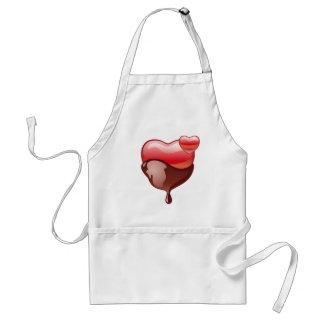 Avental Coração vermelho do amor coberto com o chocolate
