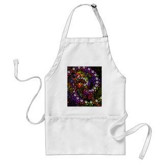 Avental espiral psicadélico floral roxa do arco-íris do