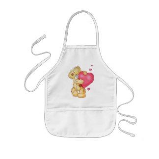 Avental Infantil Urso bonito com corações