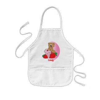 Avental Infantil Urso do batido da morango