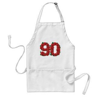 Avental Número 90 ou rosas vermelhas do aniversário do 90