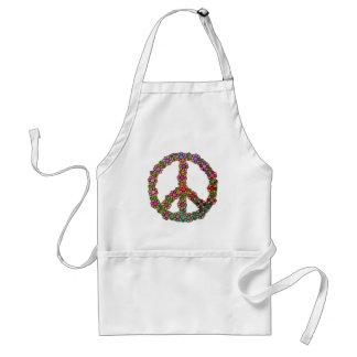 Avental O símbolo do sinal de paz floresce floral bonito