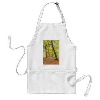 Avental Passeio na floresta coberta com as folhas caídas