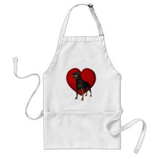 Avental vermelho do cão do coração de Rottweiler