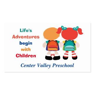 Aventura da vida com as crianças prées-escolar cartão de visita