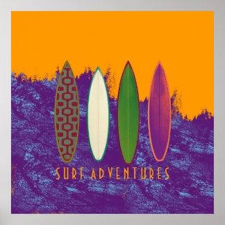 aventuras do surf, decoração da praia pôster