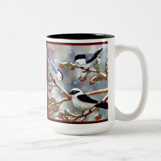 Aves canoras do inverno caneca dois tons
