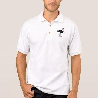 Avestruz dos desenhos animados t-shirt polo