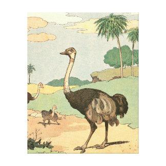 Avestruz no Savanna do deserto Impressão Em Tela