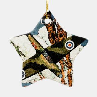 Aviões de lutador da cabeça-quente - segunda ornamento de cerâmica estrela