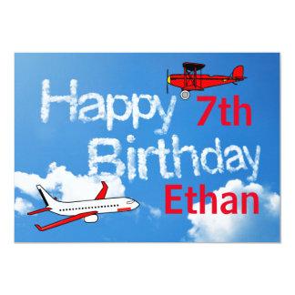 Aviões no céu - convite do aniversário dos meninos