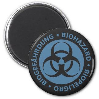 Aviso trilíngue azul desvanecido do Biohazard Ímã Redondo 5.08cm