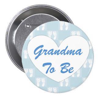 Avó a ser azul do botão do chá de fraldas bóton redondo 7.62cm