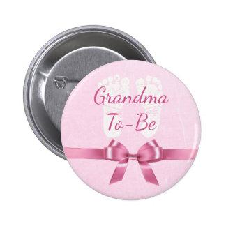 Avó cor-de-rosa do arco a ser botão do chá de bóton redondo 5.08cm