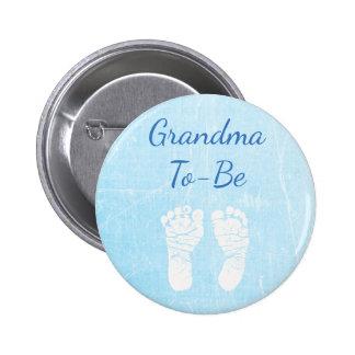 Avó do bebê azul a ser botão do chá de fraldas bóton redondo 5.08cm
