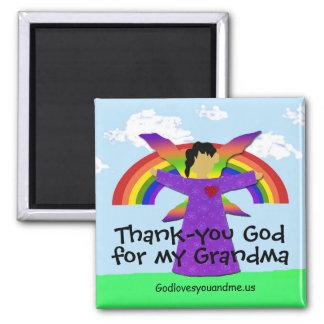 Avó obrigado ímã quadrado