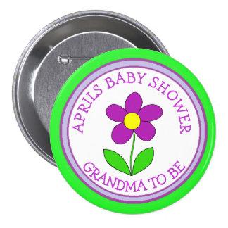 """""""Avó personalizada a ser"""" botão do chá de fraldas Bóton Redondo 7.62cm"""