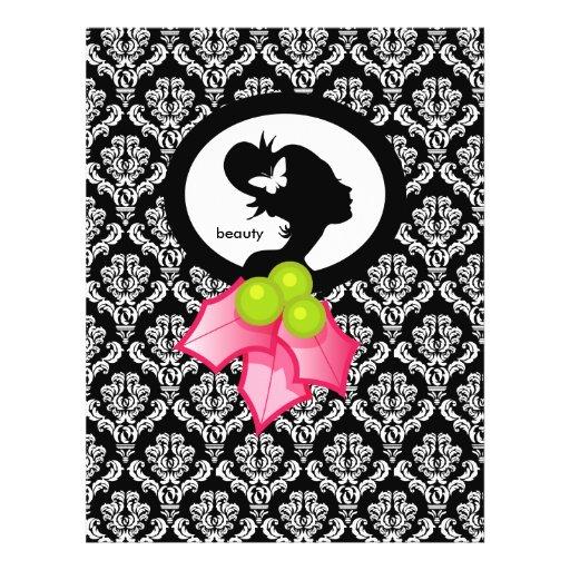 Azevinho da silhueta da mulher da borboleta do sal panfleto personalizado