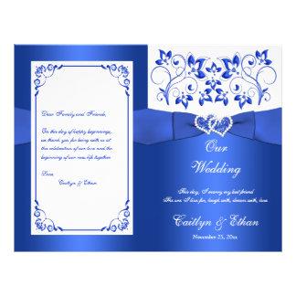 Azuis cobaltos, corações florais brancos que flyer 21.59 x 27.94cm