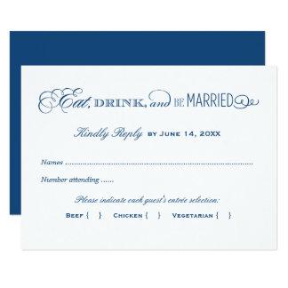 Azuis marinhos do cartão de resposta | do convite 8.89 x 12.7cm