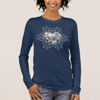 Azuis marinhos do floco de neve do coração do camiseta