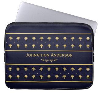 Azuis marinhos do vintage e livro do ouro com nome capas para computadores
