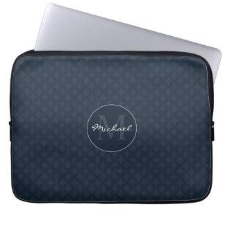 Azuis marinhos escuros consideráveis monograma capa de notebook