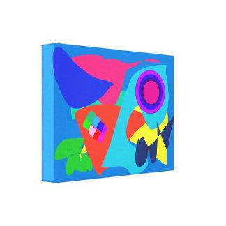 Azul abstrato da borboleta impressão de canvas esticada
