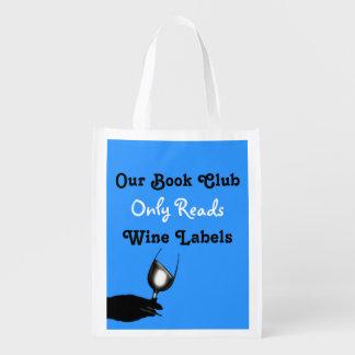 Azul amusing   do clube de leitura engraçado sacolas ecológicas
