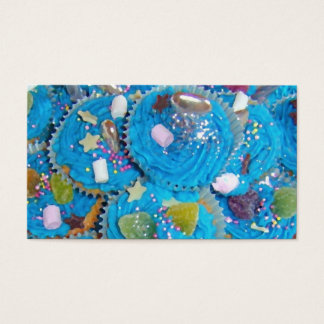 Azul azul do cartão de visita dos cupcakes