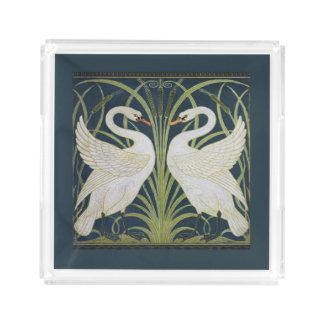 Azul branco de Nouveau das cisnes Bandeja De Acrílico