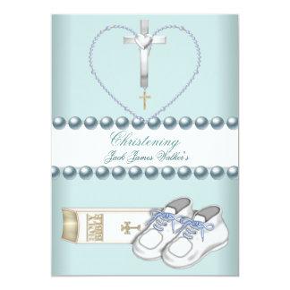 Azul branco do rosa do menino do batismo do convite 12.7 x 17.78cm